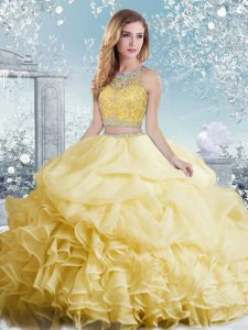 Perfect Beading and Ruffles and Pick Ups Quinceanera Dresses Yellow Clasp Handle Sleeveless Floor Length