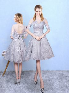 Grey A-line Printed Scoop Half Sleeves Appliques Knee Length Lace Up Quinceanera Dama Dress