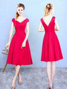Shining Ruching Quinceanera Dama Dress Red Zipper Cap Sleeves Tea Length