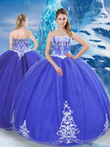 Hot Sale Floor Length Zipper Vestidos de Quinceanera Blue for Military Ball and Sweet 16 and Quinceanera with Appliques