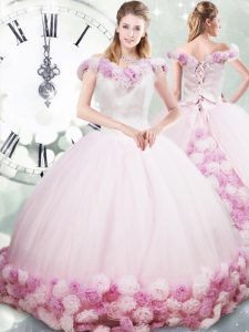 Wonderful Sleeveless Brush Train Lace Up Hand Made Flower 15th Birthday Dress
