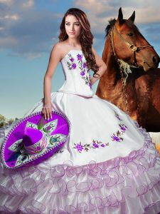Fancy White Vestidos de Quinceanera Military Ball and Sweet 16 and Quinceanera with Embroidery and Ruffled Layers Strapless Sleeveless Lace Up