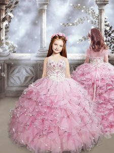 Baby Pink Lace Up Sweetheart Beading and Ruffles Little Girl Pageant Gowns Organza Sleeveless Brush Train