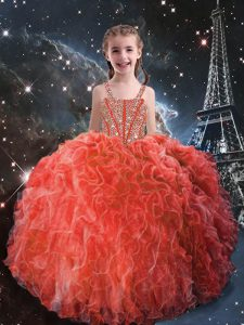 Straps Sleeveless Lace Up Little Girls Pageant Gowns Coral Red Organza