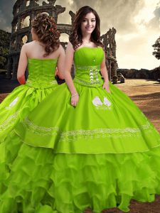 Strapless Neckline Embroidery and Ruffled Layers Quinceanera Dress Sleeveless Zipper