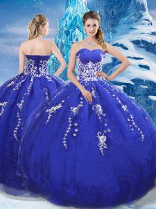 Floor Length Blue Sweet 16 Dresses Organza Sleeveless Appliques