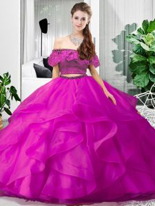 Clearance Fuchsia 15 Quinceanera Dress Military Ball and Sweet 16 and Quinceanera with Lace and Ruffles Off The Shoulder Sleeveless Lace Up