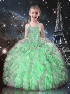 New Arrival Sleeveless Beading and Ruffles Lace Up Little Girl Pageant Dress