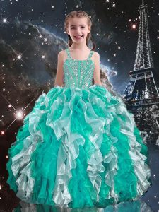 Trendy Organza Sleeveless Floor Length Child Pageant Dress and Beading and Ruffles
