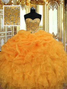 Suitable Orange Lace Up 15th Birthday Dress Beading and Ruffles Sleeveless Floor Length
