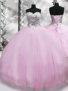 Superior Brush Train Ball Gowns Quinceanera Gown Lilac Sweetheart Tulle Sleeveless Lace Up