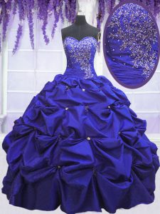 Fitting Sleeveless Floor Length Beading and Pick Ups Lace Up Quince Ball Gowns with Navy Blue