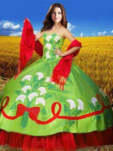 Floor Length Multi-color Sweet 16 Dress Taffeta Sleeveless Embroidery