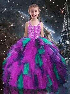 Fuchsia Tulle Lace Up Little Girls Pageant Dress Sleeveless Floor Length Beading and Ruffles