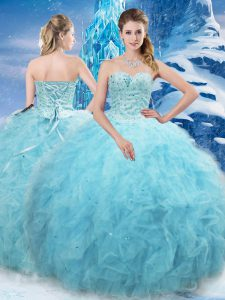 Aqua Blue Sleeveless Floor Length Beading and Pick Ups Lace Up Sweet 16 Dress