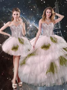 Best Selling Champagne Sweetheart Lace Up Beading and Ruffled Layers and Sequins Sweet 16 Quinceanera Dress Sleeveless