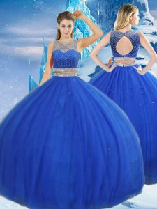 Royal Blue Sleeveless Asymmetrical Beading and Sequins Clasp Handle Sweet 16 Dresses