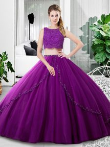 Edgy Sleeveless Floor Length Lace and Ruching Zipper Sweet 16 Dresses with Purple