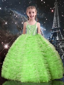Sleeveless Tulle Lace Up Little Girls Pageant Dress for Quinceanera and Wedding Party