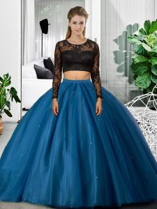 Edgy Tulle Long Sleeves Floor Length Quinceanera Gown and Lace and Ruching