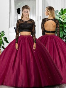 Floor Length Two Pieces Long Sleeves Fuchsia 15 Quinceanera Dress Backless