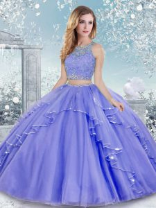 Lovely Sleeveless Clasp Handle Floor Length Beading and Lace Quinceanera Dress