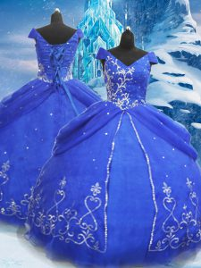 Cheap Ball Gowns Ball Gown Prom Dress Blue V-neck Tulle Short Sleeves Floor Length Lace Up