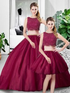 Low Price Sleeveless Floor Length Lace and Ruching Zipper Quinceanera Dresses with Fuchsia