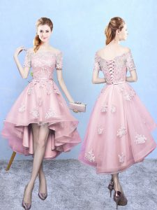 Short Sleeves Lace Lace Up Dama Dress for Quinceanera