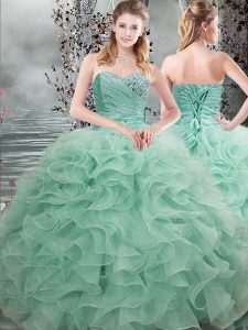 Organza Sweetheart Sleeveless Lace Up Beading and Ruffles Quinceanera Gown in Apple Green