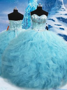 Superior Beading and Pick Ups 15th Birthday Dress Aqua Blue Lace Up Sleeveless Floor Length