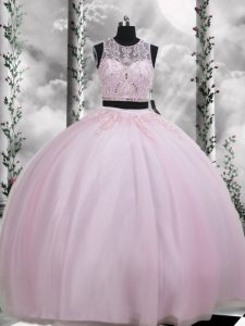 Best Sleeveless Zipper Floor Length Beading and Appliques Quinceanera Gown