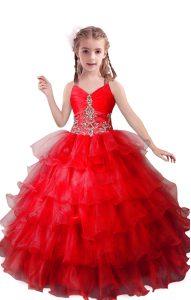 Fashionable V-neck Sleeveless Organza Kids Pageant Dress Beading and Ruffled Layers Zipper
