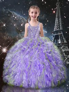 Adorable Straps Sleeveless Organza Little Girl Pageant Gowns Beading and Ruffles Lace Up