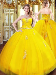 Sweetheart Sleeveless Tulle Quinceanera Dresses Beading and Appliques Lace Up