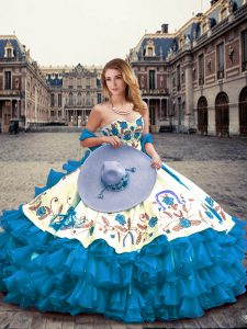 Sweetheart Sleeveless Quinceanera Dress Floor Length Embroidery and Ruffled Layers Blue And White Organza and Taffeta