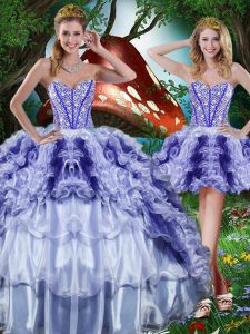 Hot Sale Multi-color Ball Gowns Beading and Ruffles and Ruffled Layers 15 Quinceanera Dress Lace Up Organza Sleeveless Floor Length