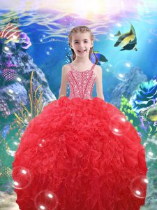 Popular Coral Red Ball Gowns Organza Straps Sleeveless Beading and Ruffles Floor Length Lace Up Child Pageant Dress