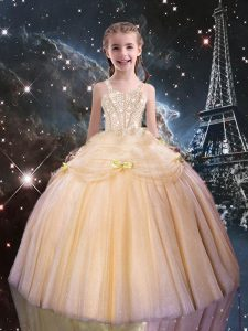 Graceful Sleeveless Tulle Floor Length Lace Up Pageant Gowns For Girls in Peach with Beading
