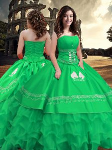 Suitable Green Zipper Strapless Embroidery and Ruffled Layers Quince Ball Gowns Taffeta Sleeveless