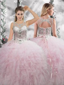 Floor Length Ball Gowns Sleeveless Baby Pink 15th Birthday Dress Lace Up