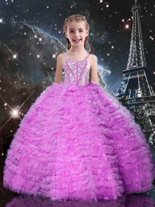 Lilac Ball Gowns Straps Sleeveless Tulle Floor Length Lace Up Beading and Ruffled Layers Little Girls Pageant Dress