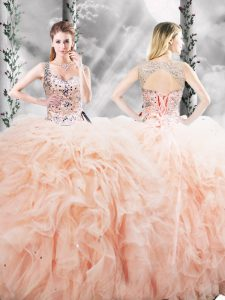 Peach Lace Up 15 Quinceanera Dress Beading and Ruffles Sleeveless Floor Length