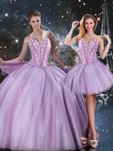 Gorgeous Lavender Lace Up 15th Birthday Dress Beading Sleeveless Floor Length
