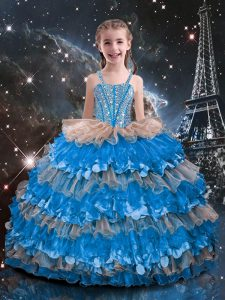 High Quality Baby Blue Sleeveless Floor Length Beading and Ruffled Layers Lace Up Girls Pageant Dresses