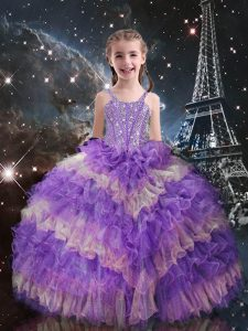 Cute Floor Length Lace Up Pageant Gowns For Girls Lilac for Quinceanera and Wedding Party with Beading and Ruffled Layers