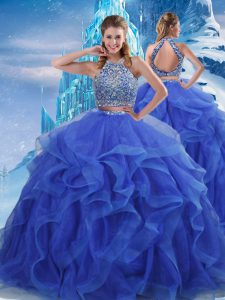 Royal Blue Halter Top Neckline Beading and Ruffles Quinceanera Dresses Sleeveless Zipper