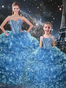 Vintage Baby Blue Sleeveless Beading and Ruffles Floor Length Quinceanera Dresses