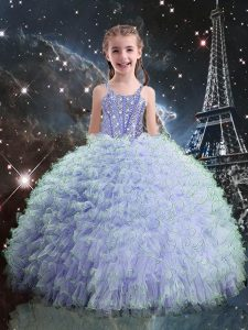 Light Blue Organza Lace Up Straps Sleeveless Floor Length Child Pageant Dress Beading and Ruffles