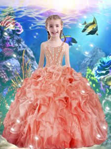 Popular Watermelon Red Ball Gowns Straps Sleeveless Organza Floor Length Lace Up Beading and Ruffles Kids Formal Wear